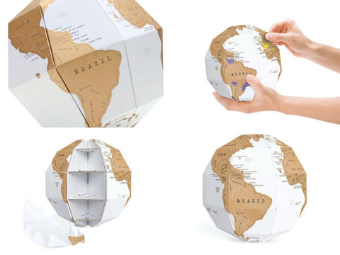 3D World Scratch Globe Map