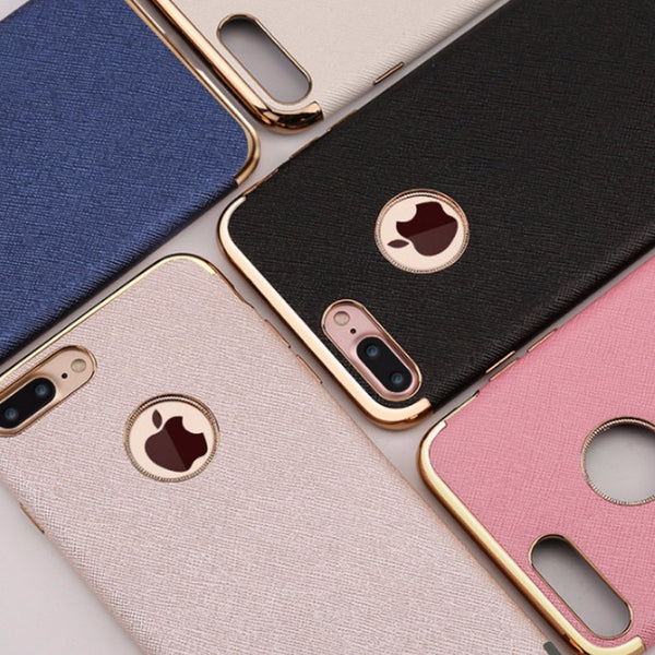 3 Staged Plated Leather Luxury Case for iPhone 7 Plus