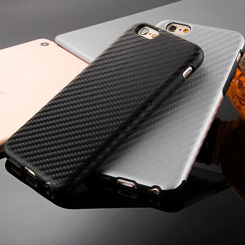 2016 New Durable Fiber Carbon Soft Case For Iphone 6 6S 4.7inch Silicone TPU Cover + Leather Skin Matte Back Capa Anti-Knock