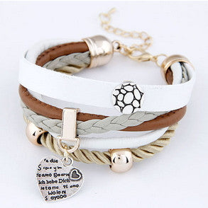 Cortex Multilayer Bracelet with Heart Pendant