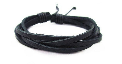 2 Pcs of Cowhide Wrap Bracelet Black