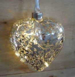 10LED Light Chain With Metallic Glass Heart