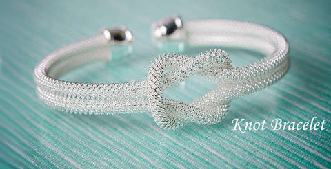 Sterling Silver-Plated Tiffany-Inspired Knot Bracelet