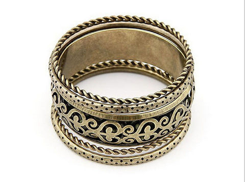 Bronze Carved Flower Bangles