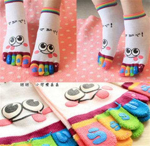 A Pack of 6 Smiley Face Toe Socks