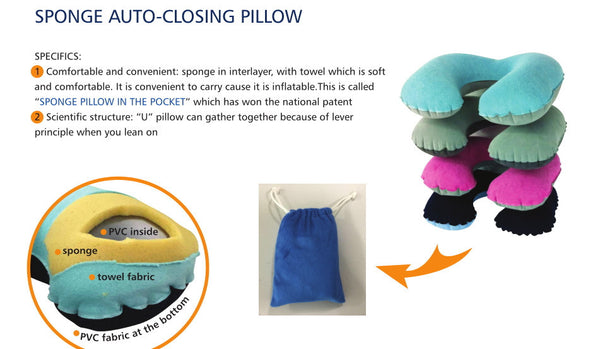 Sponge Auto Closing inflatable Travel Pillow