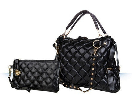 3-Way Quilted PU Leather Handbag