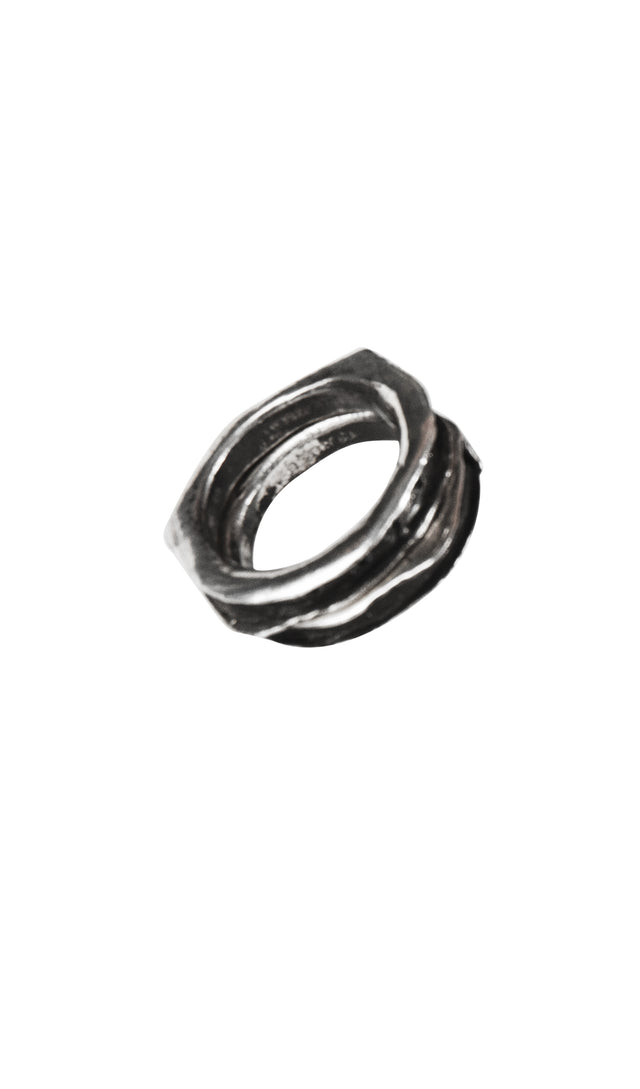 Henson Cavity Ring Set with Black Diamonds