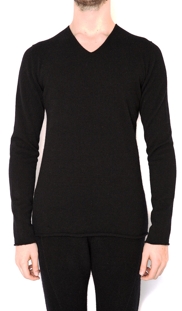 Label Under Construction V Neck Punched Sweater in Black