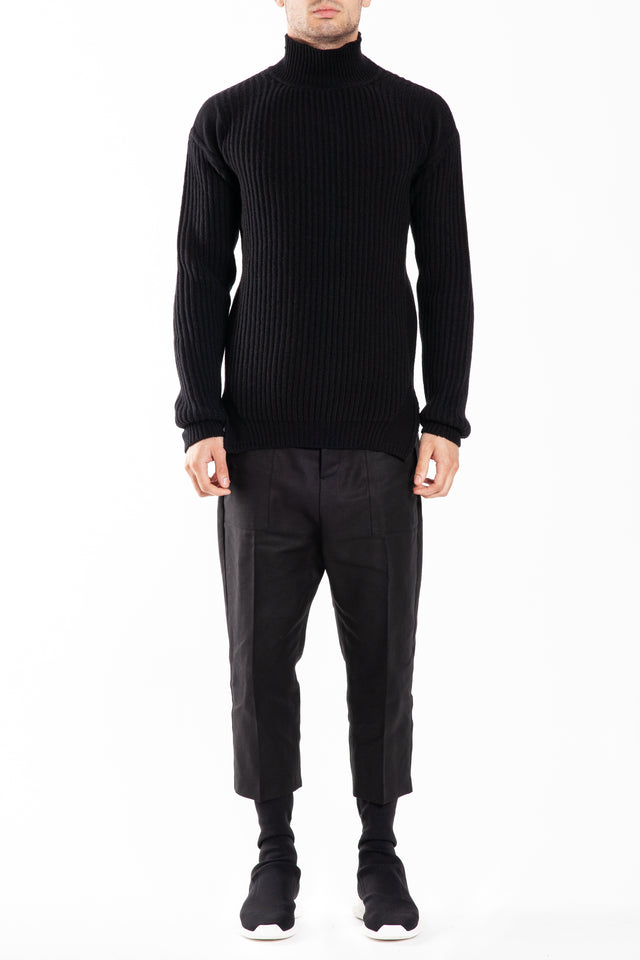 Rick Owens Fisherman Turtle Neck Knit Sweater in Black