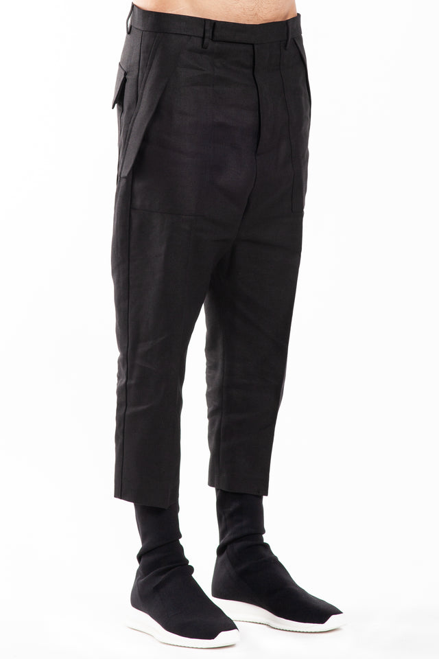Rick Owens Cropped Cargo Trousers in Black