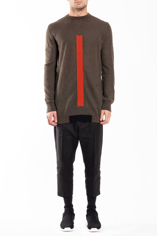 Rick Owens Round Neck Oversized Knit Sweater in DRK