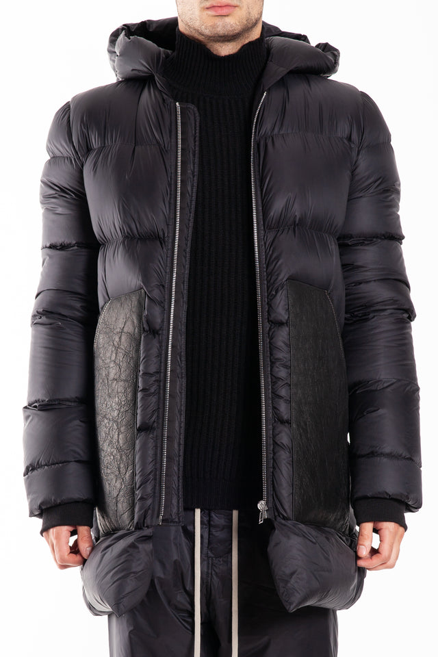 Rick Owens Hooded Down Woven Coat in Black