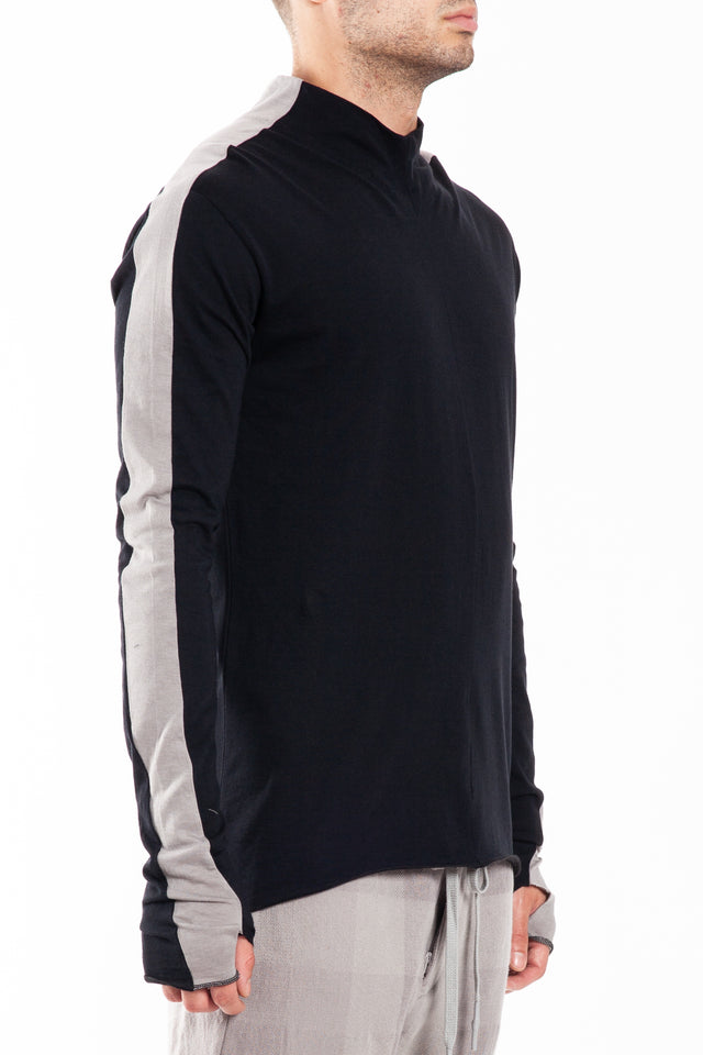 Nude:MM High Neck T-shirt in Black/Grey