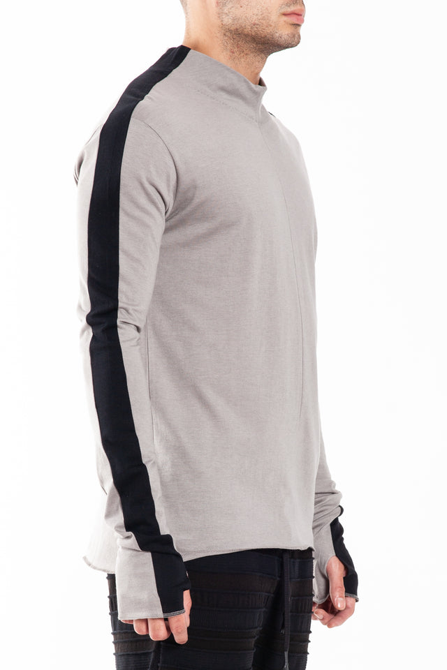 Nude:MM High Neck T-shirts in Grey/Black