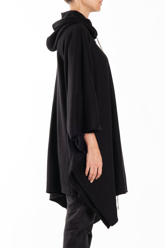 Rick Owens Hooded Knit Coat in Black