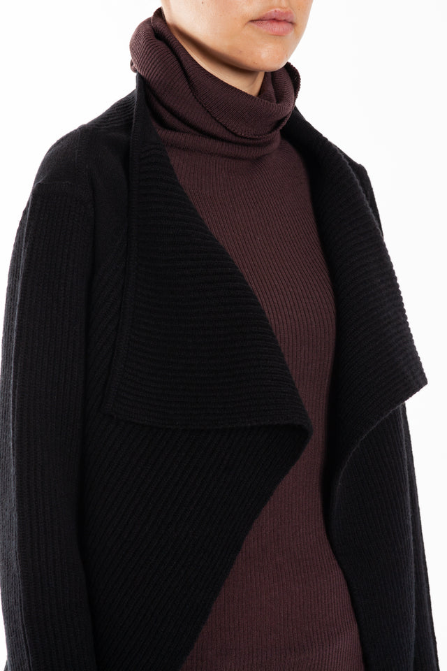 Rick Owens Fisherman Butterfly Wrap Cardigan in Black