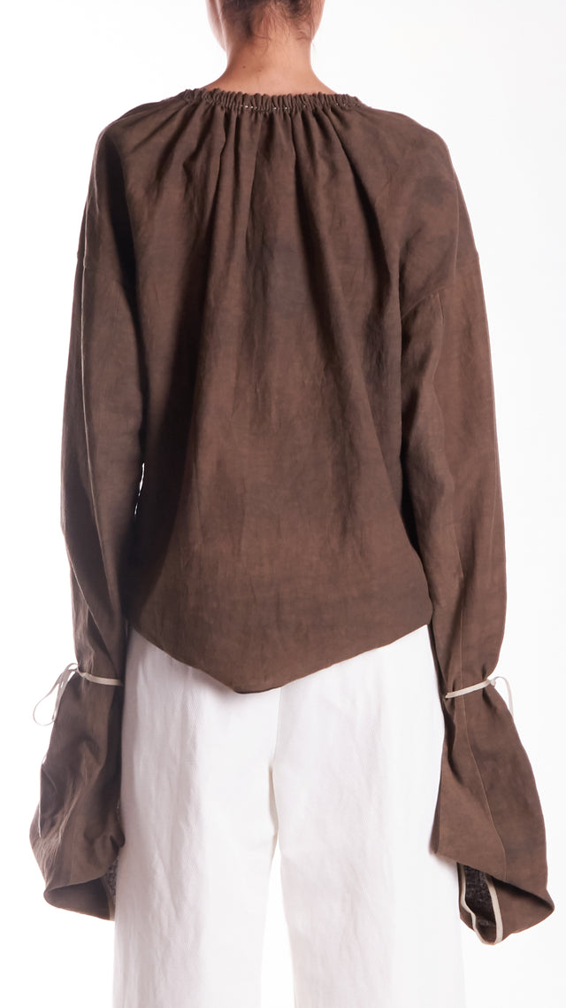 Phaedo V-Neck Long Sleeve Silk Top in Taupe
