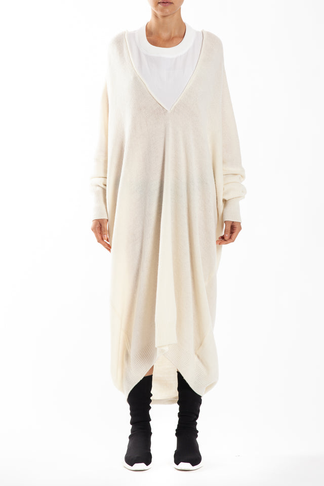 Y's by Yohji Yamamoto Long Sleeve Round Neck Dress in White