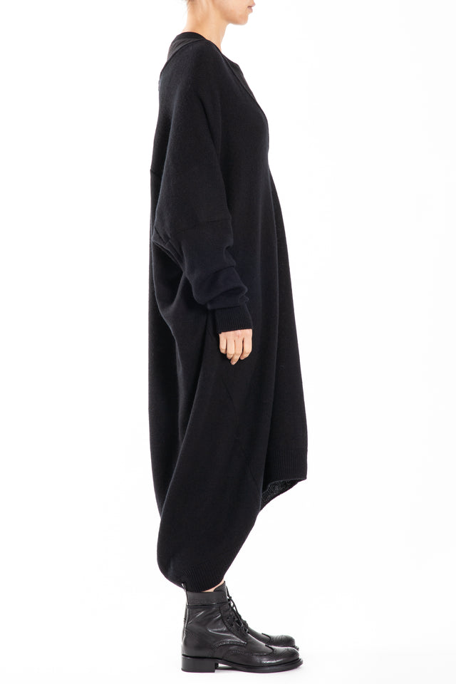 Y's by Yohji Yamamoto Long Sleeve Round Neck Dress in Black