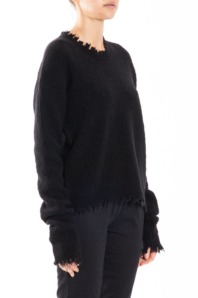 Uma Wang Mousse Long Sleeve Knit Top in Black