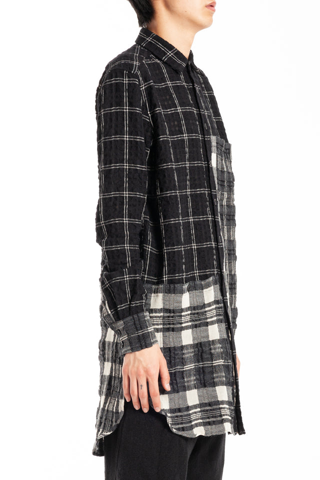Forme d'expression Patched Long Panelled Outer Shirt in Check Combo