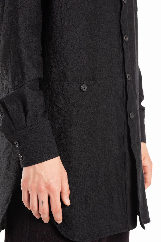Forme d'expression Long Panelled Outer Shirt in Black