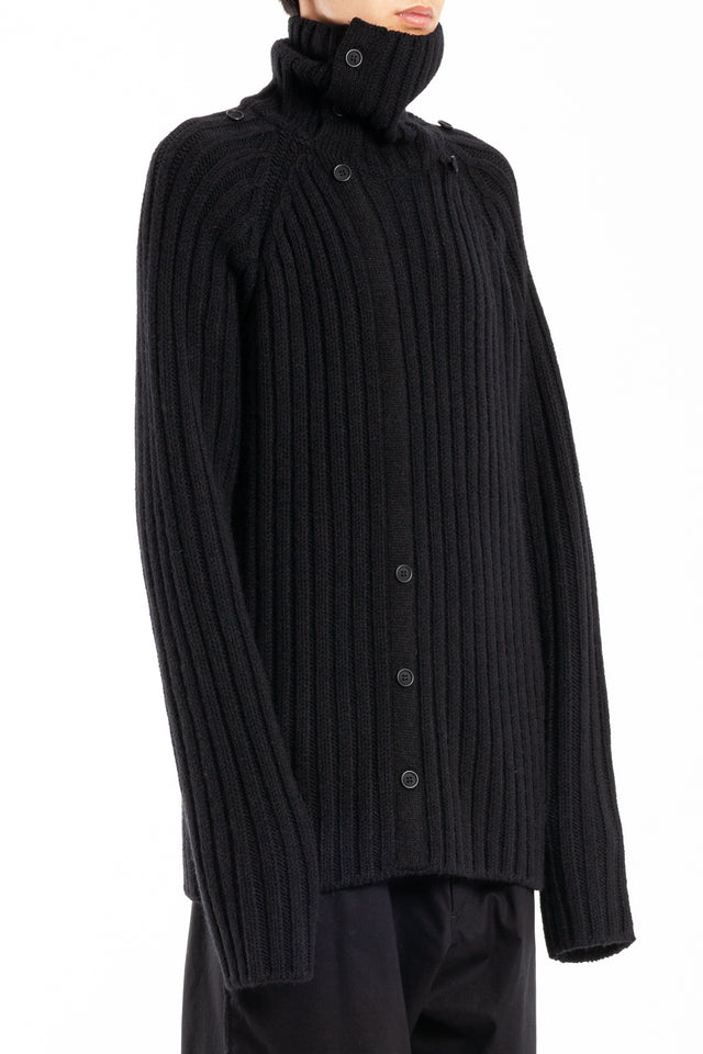 Yohji Yamamoto Hooded Turtleneck in Black