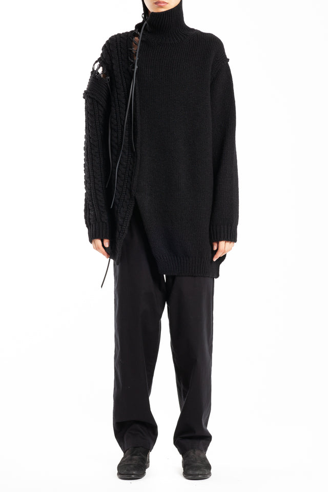 Yohji Yamamoto Leather String Turtleneck Sweater in Black