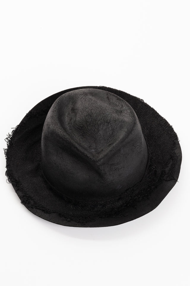 Horisaki One-of-A-Kind Rabbit Furfelt Hat in Black #47