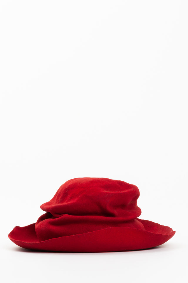 Horisaki Vintage Rabbit Furfelt Hat in Red