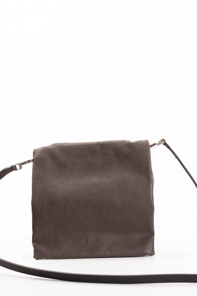 Rick Owens Small Flap Adri Leather Bag in Dark Dust