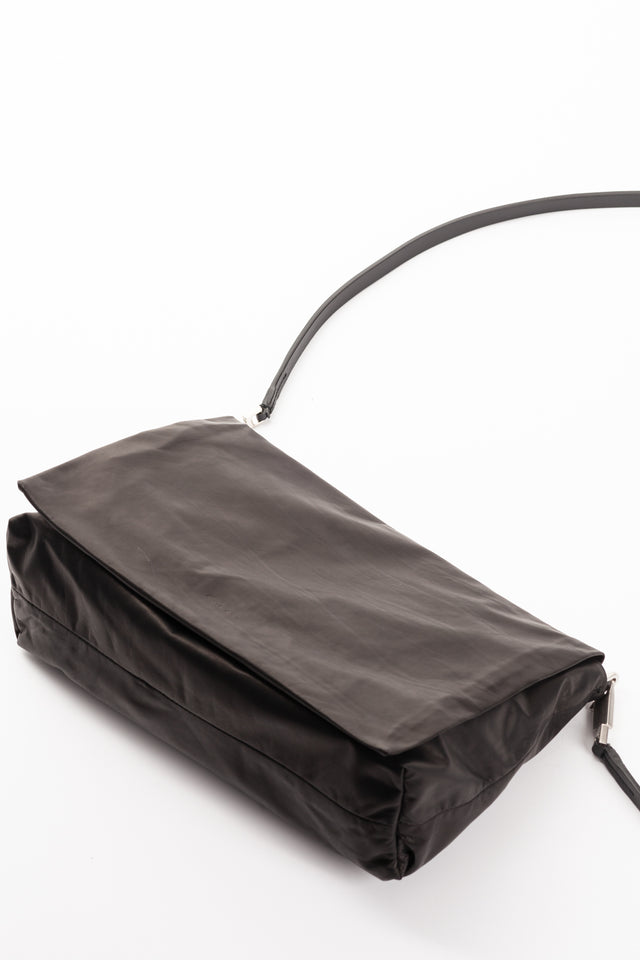 Rick Owens Medium Flap Adri Leather Bag in Black