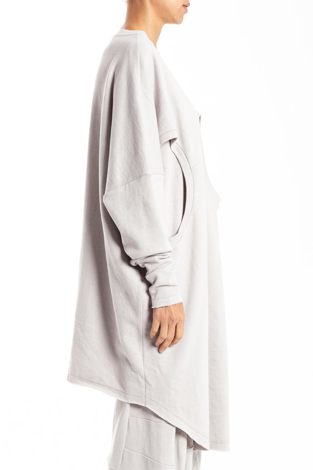 Lui Hon Double Front Pullover in Light Grey