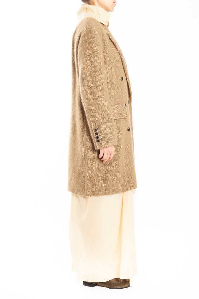 Uma Wang Colten Coat in Tan/White
