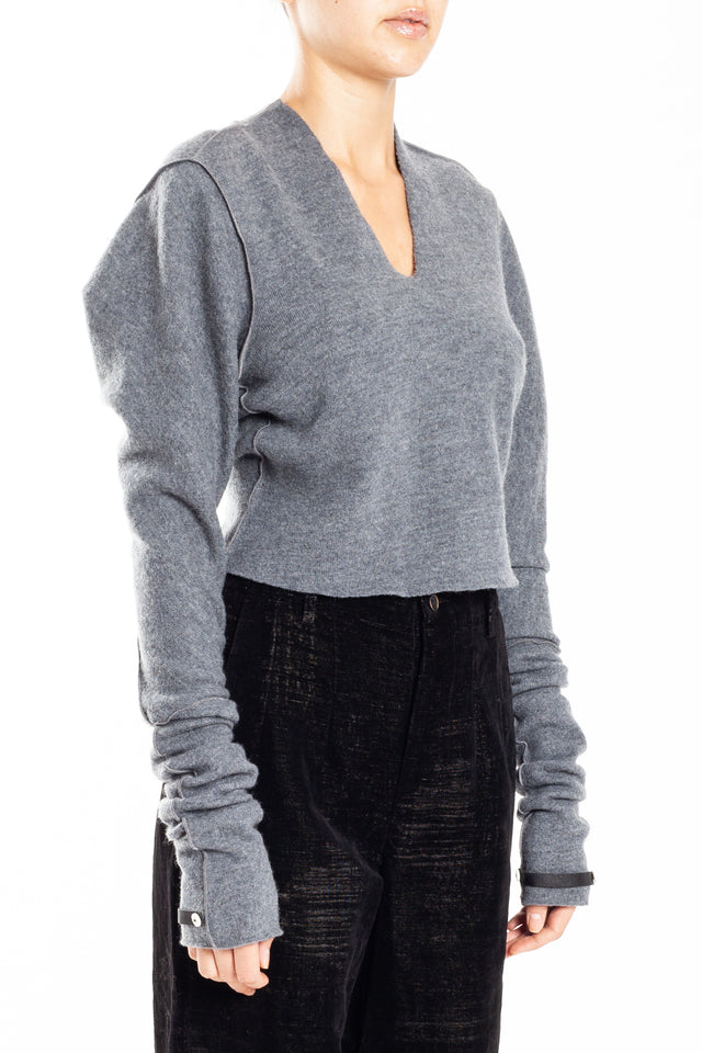 Phaedo Cropped V-neck Sweater in Gray