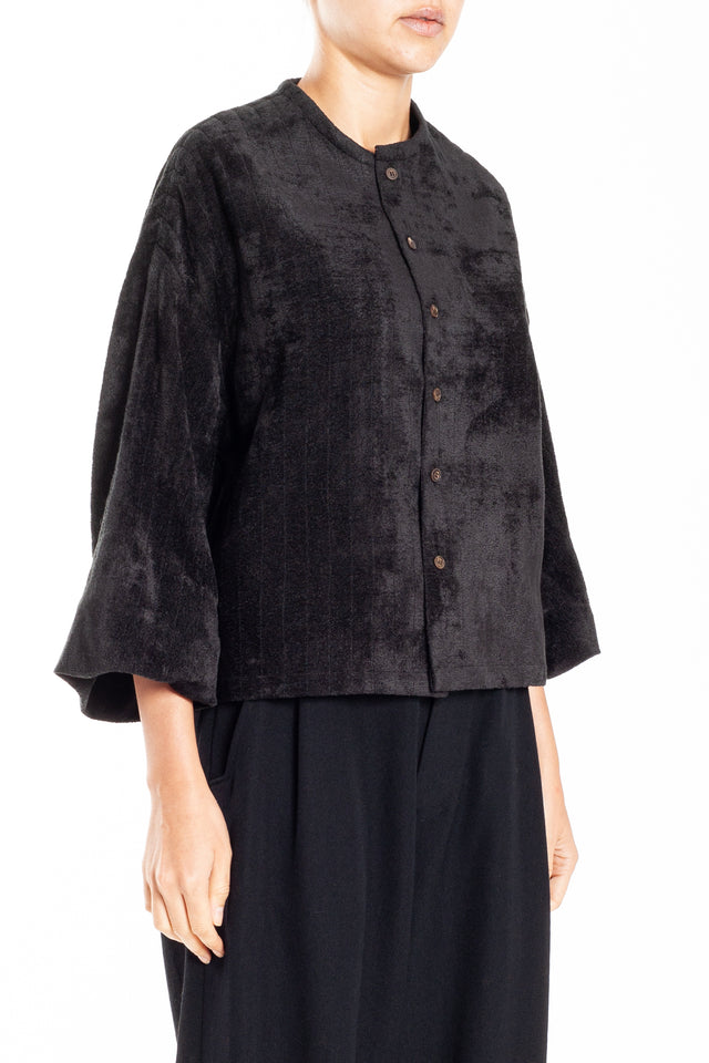 Phaedo Viscose + Silk Jacket in Black