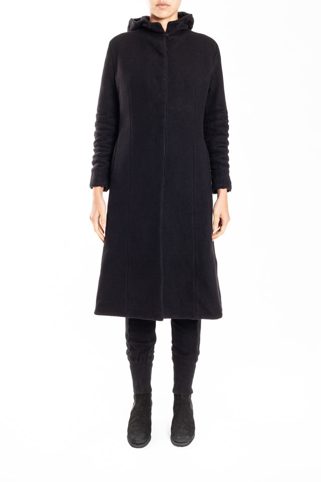 Layer-0 H Trench Coat In Black Wool