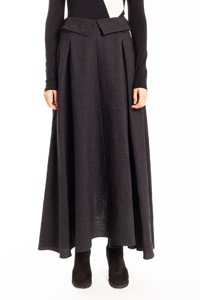 Forme d'expression Long Pleated Skirt With Sash in Night