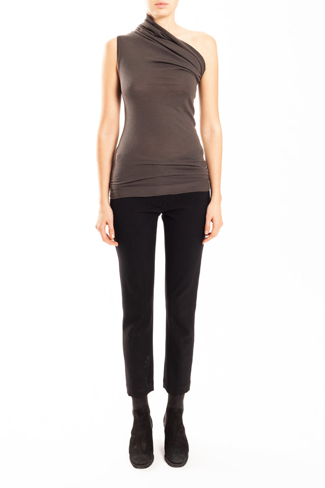 Rick Owens One Shoulder Knit Tee in Dark Dust