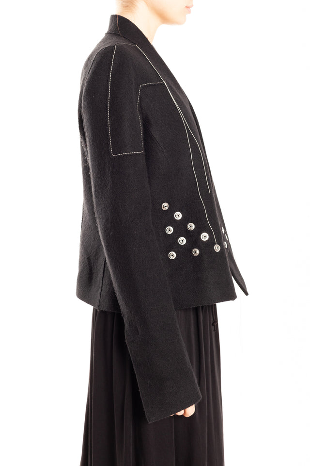 Rick Owens Snap Woven Jacket in Black/Pearl