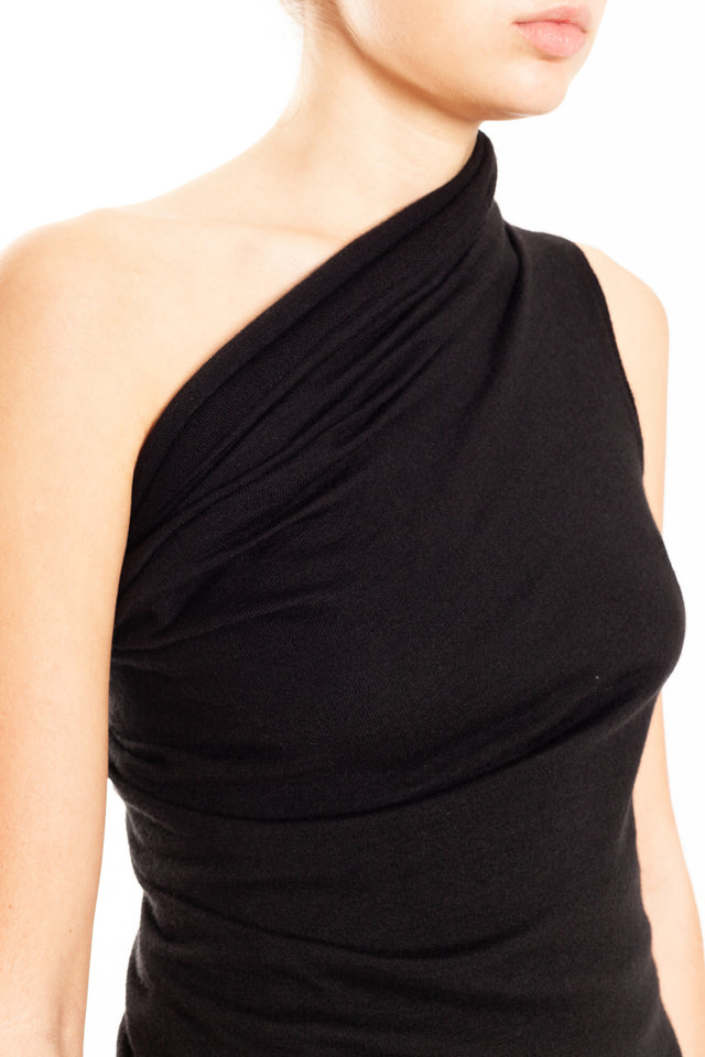 Rick Owens One Shoulder Knit Tee in Black