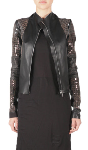 Sequin & Leather Jacket