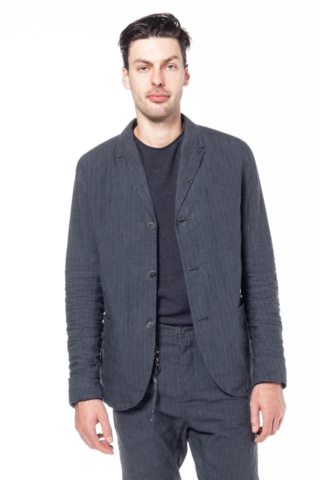 H Blazer In Striped Linen