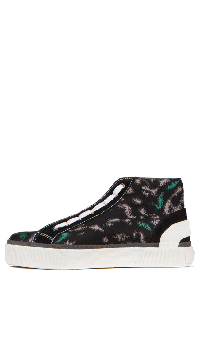 mid top sneaker in animal jacquard