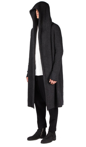 Hooded Long Knit Coat