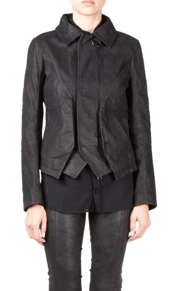 double front leather jacket