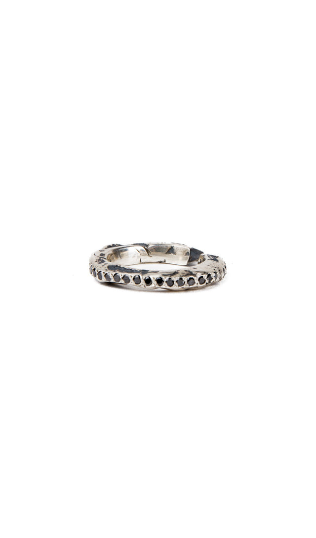 open scroll ring with diamonds