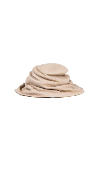 beige burnt rabbit fur felt hat