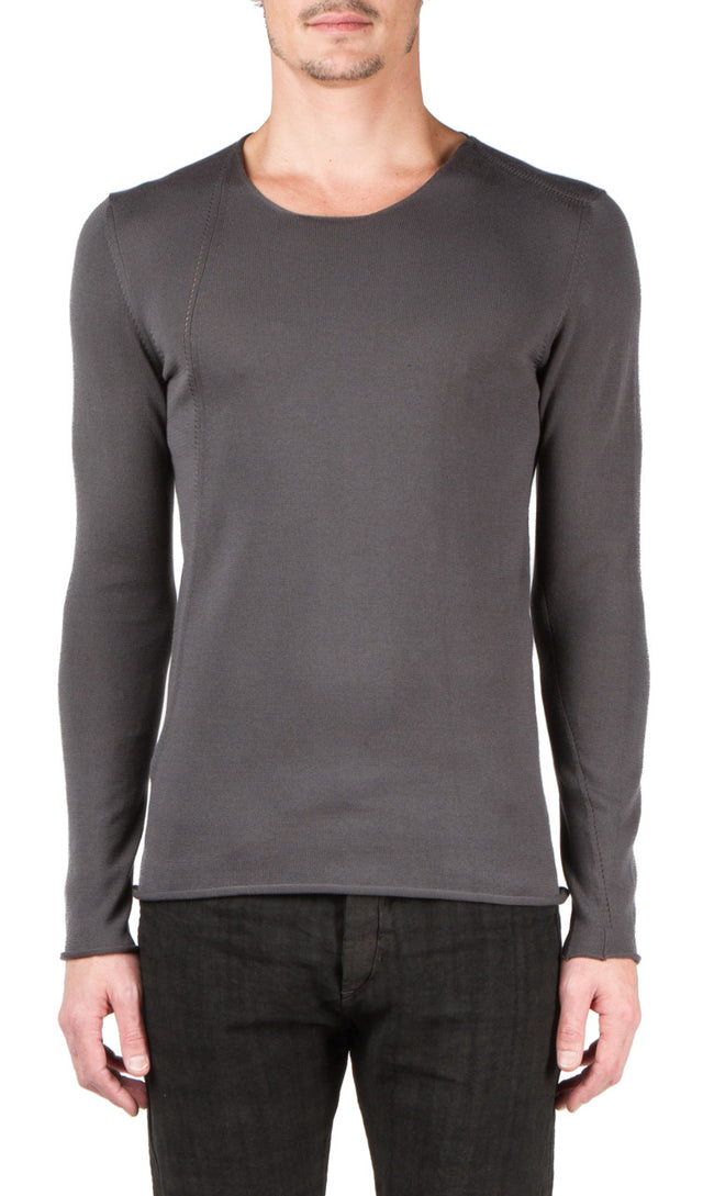 Label Under Construction Slanted Seams Sweater In Grey
